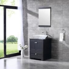 "24.4"" Black Bathroom Cabinet Ceramic Vessel Vanity Sink Set w/ Glass Top&Mirror"