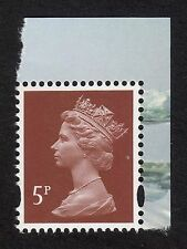 GB: SGY1764 5p Lake Brown Machin from WWF Prestige booklet; MNH, litho, 2 bands