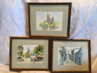 """Three Collectible W. Rossi 5x7 Framed Watercolor Paintings (Frames 10-3/4""""x9"""")"""