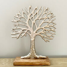 Beautiful shabby chic /country hammered metal Tree of Life ornament on wood base