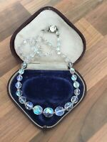"Lovely 19"" Vintage 1950s Aurora Borealis Faceted Glass Single Strand Necklace"