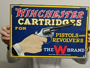 LARGE OLD WINCHESTER CARTRIDGES PORCELAIN ENAMEL SIGN REMINGTON PISTOL REVOLVER