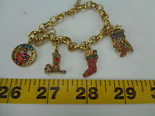 Christmas Charm Bracelet Wreath Candle Stocking Drum Tree Jewels Collectible