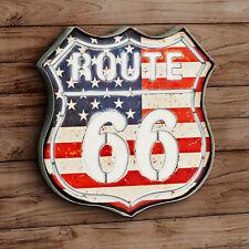 Geprägt LED Beleuchtet Blechschild US Route 66 Reise R66 36 x 35 x 5 cm