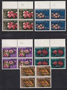 Suriname Mint Stamps in Blocks of 4 Sc#B85-B89 MNH