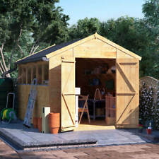 12x8 Tongue & Groove Wooden Shed Workshop Double Door Apex Roof Felt 12ftx8ft