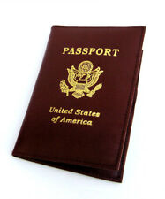 BROWN LEATHER USA PASSPORT COVER Travel ID Card Holder Wallet