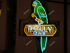 """24"""" Inches Polly Gas & Oil Station Business Sign REAL NEON SIGN BEER BAR LIGHT"""