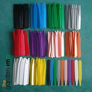 """100 4"""" Coloured Plastic Garden Plant Labels. Seed Trays Plugs Pots Tags Markers"""