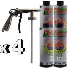Pro Range 4 x 1 Litre Black Stone Chip + Spray Gun Can be over Painted Paintable