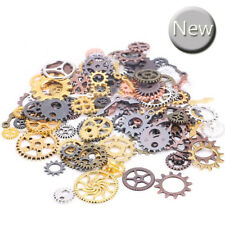 100 Metal Bronze Silver Gold Steampunk Cogs and Gears Clock Hand Charm Mix UK