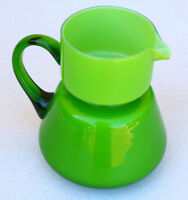 Small Green Pitcher opaque beautiful unusual shape glass drink water MCM 70s