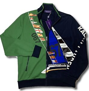 $895 Ralph Lauren Purple Label Navy Blue Bomber Sweater Size Large Made in Italy