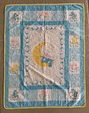 VTG 1980's Care Bear Quilt Handmade Baby Crib Blue Yellow White Moon 34 x 44