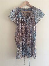 Debbie Shuchat Estate T-shirt in Chiffon Stampa Leopardata Taglia 8 < K1737