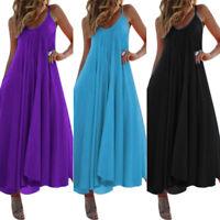 Women Ladies Sleeveless Cotton Vest Casual Loose Maxi Dress Shirt long Dress