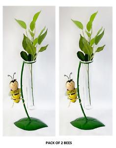 Glass Metal Vase Novelty Flower Bud Holder Garden Bee Sold in Pack of 2