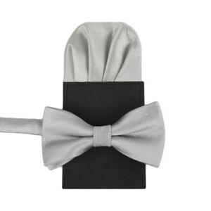 Men's Shiny Pre-tied Bow Tie Pre-Folded Pocket Square Wedding Tuxedo Bowtie Set