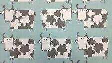 Moo Moo Cow Aqua Curtain Craft Upholstery Designer Cotton Fabric