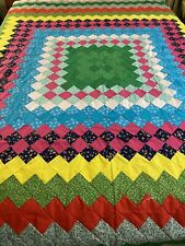 "WOW Vibrant Vintage Handmade Hand Stitched Boston Commons Quilt top 90"" x 94"""