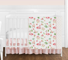 Pink Green White Flamingo Tropical Floral Baby Girl Bumperless Crib Bedding Set
