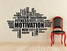Fitness Motivation Word Cloud Wall Decal Sport Gym Vinyl Sticker Art Decor 475n