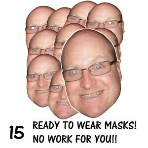 15 x PERSONALISED FUN FACE MASKS - STAG/HEN PARTY - READY TO WEAR - FREE P&P!