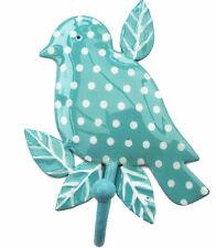 Vintage decor shabby chick DOTTY BIRD BRANCH HOOK - BLUE, Polka Dot, new