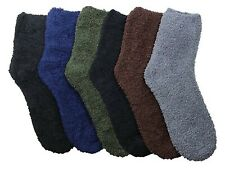 6 Pair Fuzzy Warm Soft New 301P3 9-11 Size Plush Crew Plain Cozy Socks Slipper