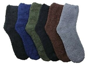 6 Pairs Fuzzy Warm Soft New Plush Crew Plain Cozy Socks Slipper 301PL3 Size 9-11