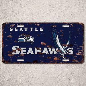 LP0067 Seattle Seahawks Auto Car License Plate Sign Rust Vintage Home Deco