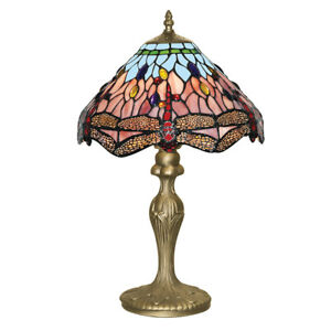 Dragonfly Antique Brass Table Lamp Light Hand Made Tiffany Glass Design Shade