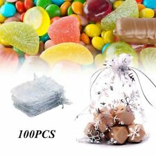 100Pcs Wedding Gift Pouch Snowflake White Jewelry Organza Translucent Candy Bag