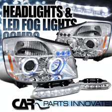 For 04-15 Nissan Titan Armada Chrome Halo Projector Headlights+6-LED Fog Lamps