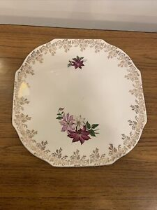 Vintage Lord Nelson Pottery Gold Rimmed Cake Plate
