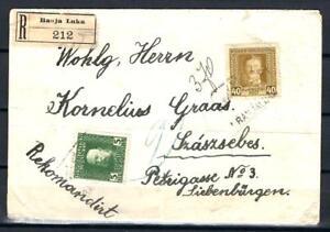 AUSTRIA BOSNIA 1918 + 1912 ISSUE REGISTERED LETTER  Fercenbauer 500€ RRR!