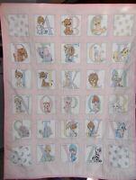 Handmade Precious Moments Pink Nursery Baby Quilt Crib Blanket ALPHABET ABC