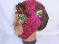 Charming Charlie Burgundy Wool Head / Ear Warmer Scarf with Feathers & Jewels