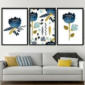 Set of 3 Framed Abstract Spring Floral Blue Yellow Art PRINT Flowers Leaves