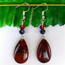 1Pair 25*15*6mm Natural Mahogany Obsidian Teardrop Pendant Earrings 62mm HH6192