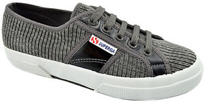 $75 SUPERGA Gray Black Corduroy Leather Sneakers Women Shoes NEW COLLECTION