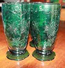 PRINCESS HOUSE FANTASIA  GREEN FOOTED TUMBLERS BEVERAGE GLASSES