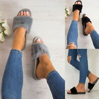 LADIES WOMENS FLAT SLIDER LOVE SLIPPERS SLIP ON MULES SUMMER SANDALS SHOES SIZE