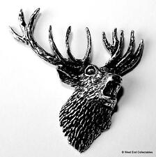 Stag Head Pewter Pin Brooch -British Made- Deer Stalking Antler Stag Party Do