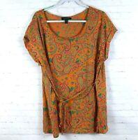 Lauren By Ralph Lauren Women's Size 2X Paisley Floral Short Sleeve Tie Knit Top