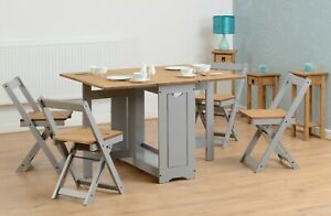 Santos Butterfly Dining Set Slate Grey/Distressed Waxed Pine