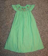 Rosalina green gingham smocked bishop dress sz 5 (fits big) angel wing sleeves