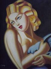 Tamara de Lempicka Grande dipinto a olio su tela donna con colomba Modern Art Deco