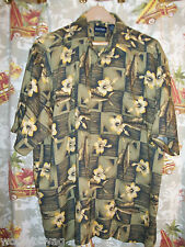 Puritan Aloha Green Flowers Size L Hawaiian Pocket Free USA ship