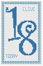 18 ème anniversaire bleu Kit de cartes de point de croix par florashell